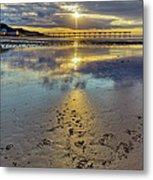 Sun Ray Sunset Saltburn Metal Print