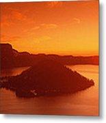 Sun Rising Over Crater Lake National Metal Print