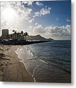 Sun Sand And Waves - Waikiki Honolulu Hawaii Metal Print