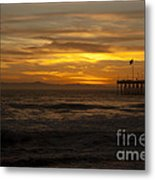 Sun Setting Behind Santa Cruz With Ventura Pier 01-10-2010 Metal Print
