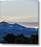 Sun Setting Behind The Mountains Metal Print