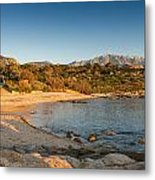 Sun Setting On The Beach At Arinella Plage In Corsica Metal Print