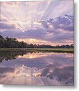 Sun Setting Over Pond Metal Print by Bonnie Barry