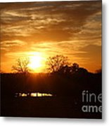 Sun Setting Over The Pond Metal Print