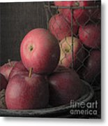 Sun Warmed Apples Still Life Square Metal Print