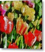 Sunbathing Tulips Metal Print
