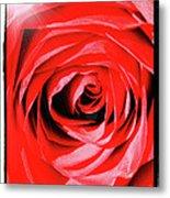Sunburst On Red Rose With Framing Metal Print