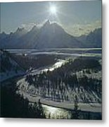 1m9313-sunburst Over Grand Teton, Wy Metal Print