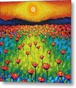 Sunburst Poppies Metal Print
