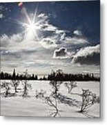Sunburst With Snow Metal Print