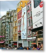 Sunday Afternoon On Pedestrian Walkway In Istanbul-turkey Metal Print