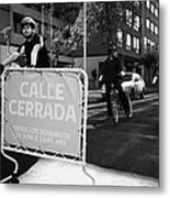 sunday morning roads closed for cyclists and walkers Santiago Chile Metal Print