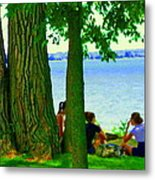 Sunday Picnic On The Lake Maple Trees At The Canal Pte Claire Montreal Waterscene Carole Spandau Metal Print
