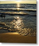 Sundown On The Beach Metal Print