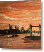 Sundown Over Tower Bridge London Metal Print