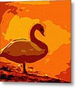 Sundown Swan Metal Print