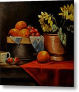 Sunflower And Fruits Metal Print