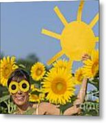 Sunflower And Sun Metal Print