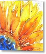 Sunflower Blue Orange And Yellow Metal Print