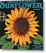 Sunflower Brand Crate Label Metal Print