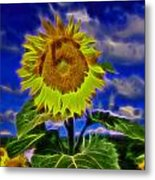 Sunflower Electrified Metal Print