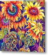 Sunflower Garden Metal Print by Ann  Nicholson
