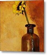 Sunflower In A Brown Bottle Metal Print