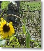 Sunflower Outline 3 Metal Print