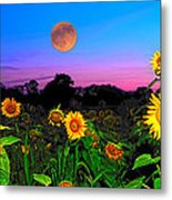 Sunflower Patch And Moon  Metal Print