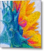 Sunflower Profile Impressionism Metal Print
