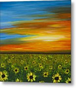 Sunflower Sunset - Flower Art By Sharon Cummings Metal Print by Sharon Cummings