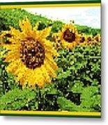 Sunflower Tapestry Metal Print