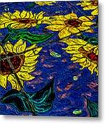 Sunflower Tiled Oil Painting Metal Print