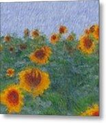 Sunflowerfield Abstract Metal Print