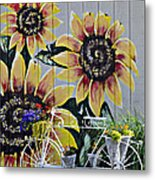 Sunflowers And Bicycle Metal Print