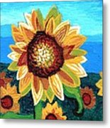 Sunflowers And Blue Sky Metal Print by Genevieve Esson