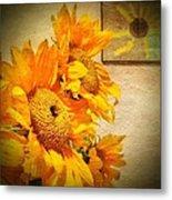 Sunflowers And The Sun Metal Print