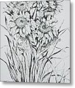 Sunflowers Black And White Metal Print
