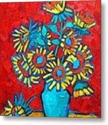 Sunflowers Bouquet Metal Print