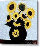Sunflowers Expressive Brushstrokes Metal Print