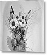 Sunflowers In A Basket Metal Print