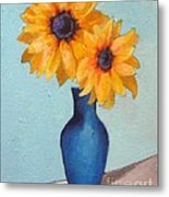 Sunflowers In A Blue Vase Metal Print