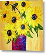 Sunflowers In A Red Pot Metal Print