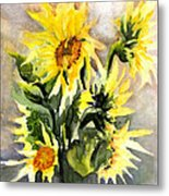 Sunflowers In Abstract Metal Print