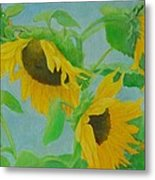 Sunflowers In The Wind 2 Metal Print