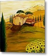Sunflowers In Tuscany Metal Print
