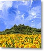Sunflowers In Tuscany Metal Print