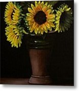 Sunflowers In Vase Metal Print
