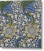 Sunflowers On Blue Pattern Metal Print