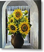 Sunflowers On The Window Metal Print by Kiril Stanchev